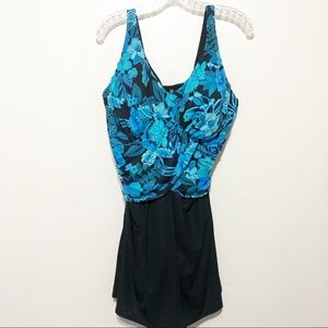 Lands End One Piece Swimsuit 16W Floral Black Blue